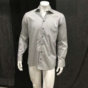 Eton Mens Gray Striped Dress Shirt